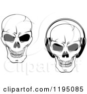 Clipart Of Black And White Cracked Skulls With Headphones Royalty Free Vector Illustration
