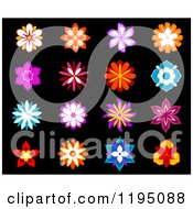 Clipart Of Colorful Flowers On Black 3 Royalty Free Vector Illustration