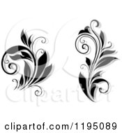 Clipart Of Black And White Flourishes With Shadows Royalty Free Vector Illustration
