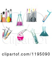 Clipart Of Science Lab Test Tubes Flasks And Beakers Royalty Free Vector Illustration