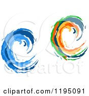 Clipart Of Colorful And Blue Painted Curling Waves 2 Royalty Free Vector Illustration