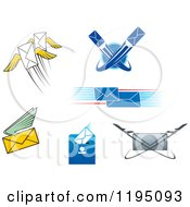 Clipart Of Post And Email Designs Royalty Free Vector Illustration