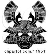 Asian Samurai Warrior Mask Clipart Illustration by AtStockIllustration #COLLC11951-0021