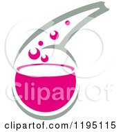 Clipart Of A Science Lab Container With Pink Bubbly Liquid Royalty Free Vector Illustration