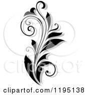 Clipart Of A Black And White Flourish With A Shadow 3 Royalty Free Vector Illustration