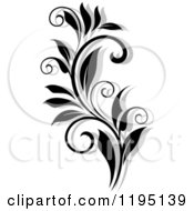 Clipart Of A Black And White Flourish With A Shadow 4 Royalty Free Vector Illustration
