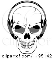 Clipart Of A Black And White Cracked Skull Wearing Headphones Royalty Free Vector Illustration
