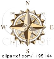 Clipart Of A Brown And White Compass Rose 4 Royalty Free Vector Illustration