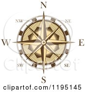 Clipart Of A Brown And White Compass Rose 3 Royalty Free Vector Illustration