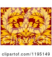 Clipart Of A Red And Yellow Seamless Damask Pattern Royalty Free Vector Illustration