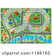 Clipart Of An Aerial Map Of A Surburban Area And River Royalty Free Vector Illustration