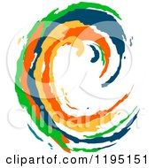 Clipart Of A Colorful Painted Curling Wave 2 Royalty Free Vector Illustration