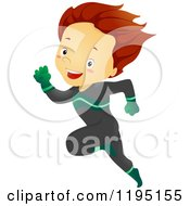 Cartoon Of A Running Brunette Super Hero Boy Royalty Free Vector Clipart