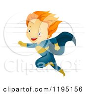 Cartoon Of A Running Red Haired Super Hero Boy Royalty Free Vector Clipart