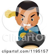 Cartoon Of A Fighting Super Hero Boy Punching Royalty Free Vector Clipart