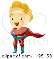 Cartoon Of A Happy Blond Super Hero Boy Royalty Free Vector Clipart