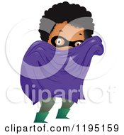 Cartoon Of A Black Super Hero Boy With A Cape And Mask Royalty Free Vector Clipart