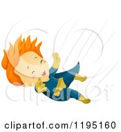 Cartoon Of A Red Haired Falling Super Hero Boy Royalty Free Vector Clipart