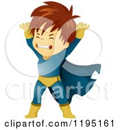 Cartoon Of A Brunette Super Hero Boy Lifting Royalty Free Vector Clipart