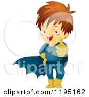 Cartoon Of A Happy Brunette Super Hero Boy Holding A Thumb Up Royalty Free Vector Clipart