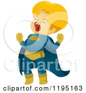 Cartoon Of A Shouting Blond Super Hero Boy Royalty Free Vector Clipart