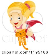 Cartoon Of A Super Hero Girl Saving A Kitten Royalty Free Vector Clipart