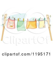 Cartoon Of Colorful Baby Blankets Air Drying On A Clothesline Royalty Free Vector Clipart