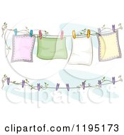 Cartoon Of Blankets Air Drying On A Clothesline Royalty Free Vector Clipart