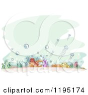 Cartoon Of Sketched Ocean Floor Over Green Royalty Free Vector Clipart by BNP Design Studio