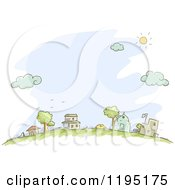 Cartoon Of Sketched Neighboring Houses Over Blue Royalty Free Vector Clipart