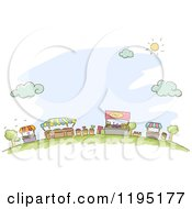 Cartoon Of Sketched Market Kiosks Booths And Vendor Stands Over Blue Royalty Free Vector Clipart