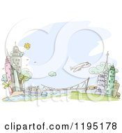Cartoon Of A Sketched City Bridge River And Airplane Over Blue Royalty Free Vector Clipart