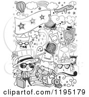 Cartoon Of Black And White Travel Doodles Royalty Free Vector Clipart