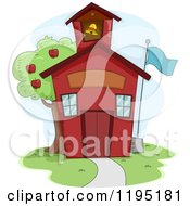 Cartoon Of A Cute Red School House With An Apple Tree Royalty Free Vector Clipart
