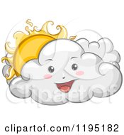 Cartoon Of A Happy Cloud With A Peeking Sun Royalty Free Vector Clipart