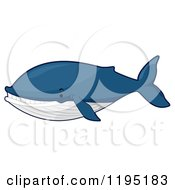 Cartoon Of A Cute Blue Whale Royalty Free Vector Clipart by BNP Design Studio