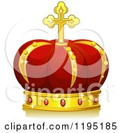Cartoon Of A Red And Gold Royal Crown Royalty Free Vector Clipart
