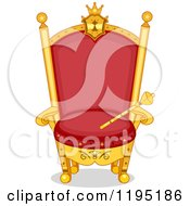 Cartoon Of A Red And Gold Kings Throne With Scepter Royalty Free Vector Clipart by BNP Design Studio