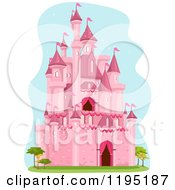 Cartoon Of A Pink Fairy Tale Castle And Trees Over Blue Royalty Free Vector Clipart