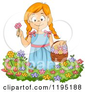 Cartoon Of A Happy Red Haired Girl Picking Flowers In A Garden Royalty Free Vector Clipart