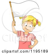 Cartoon Of A Happy Blond Girl Waving A White Flag Royalty Free Vector Clipart