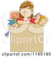 Cartoon Of A Happy Brunette Girl Waving From Inside A Toy Box Royalty Free Vector Clipart