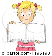Cartoon Of A Happy Blond Girl Showing Pages Of An Open Book Royalty Free Vector Clipart