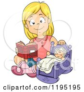 Cartoon Of A Happy Blond Girl Reading To A Baby Doll Royalty Free Vector Clipart
