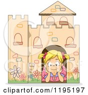 Cartoon Of A Happy Blond Girl Day Dreaming In A Cardboard Castle Royalty Free Vector Clipart