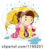 Cartoon Of A Happy Brunette Girl Playing In The Rain Royalty Free Vector Clipart