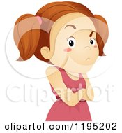 Cartoon Of A Stubborn Brunette Girl With Folded Arms Royalty Free Vector Clipart