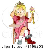 Cartoon Of A Happy Blond Princess Girl Sitting At A Desk Royalty Free Vector Clipart
