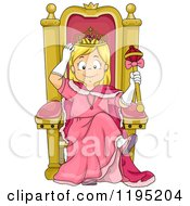 Cartoon Of A Happy Blond Princess Girl Sitting On A Throne Royalty Free Vector Clipart by BNP Design Studio