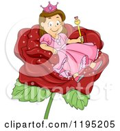 Cartoon Of A Happy Brunette Princess Girl In A Red Rose Royalty Free Vector Clipart